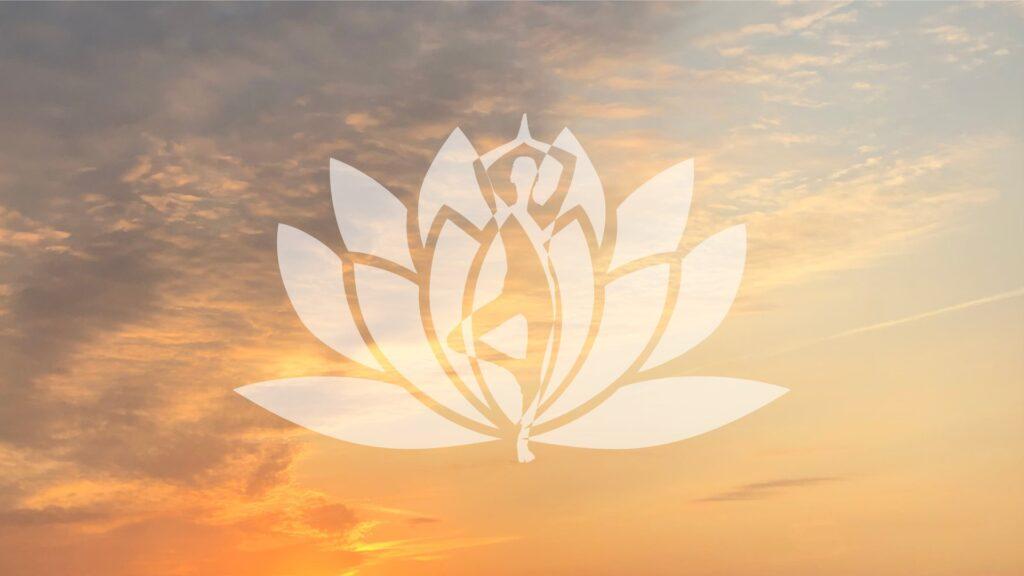 Billede af solnedgang og et motiv af en yogi og lotus i forgrunden